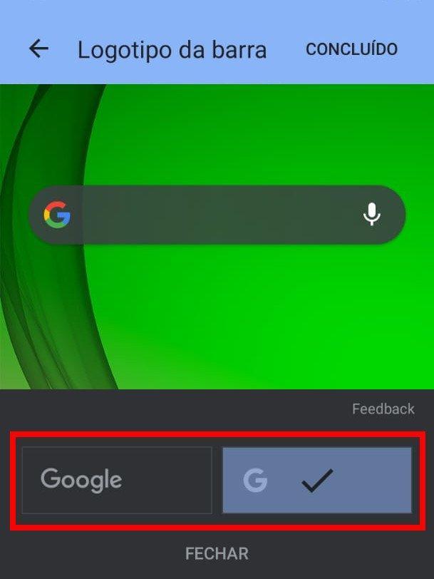 Primeiro, ajuste o formato do logotipo do Google (Captura de tela: Matheus Bigogno)