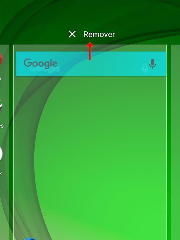 """Para excluir o widget da tela, basta apenas arrastá-lo para o item """"Remover"""" (Captura de tela: Matheus Bigogno)"""
