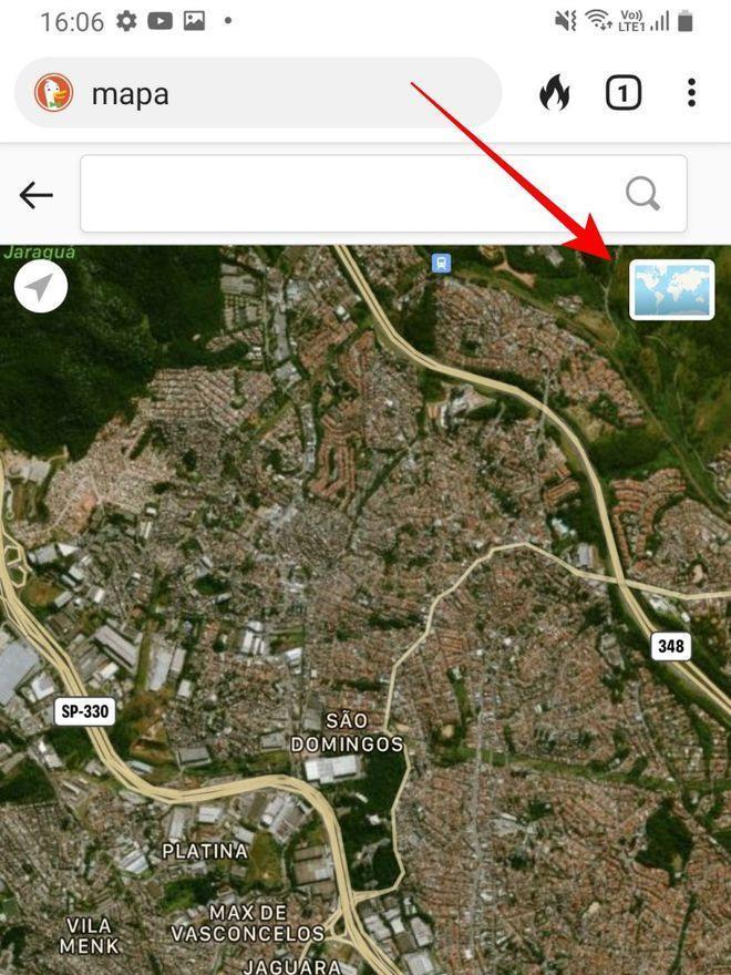 Toque no ícone indicado para ver detalhes do mapa em satélite - Captura de tela: Thiago Furquim (Canaltech)