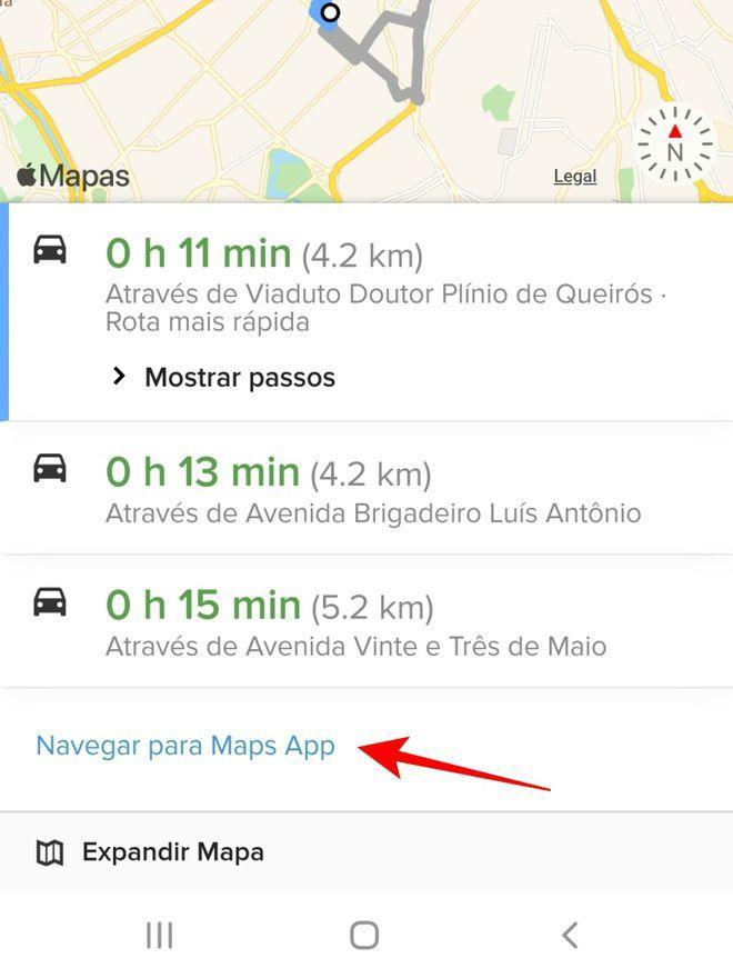 Realize a navegação em rota por um aplicativo de mapa do seu celular - Captura de tela: Thiago Furquim (Canaltech)
