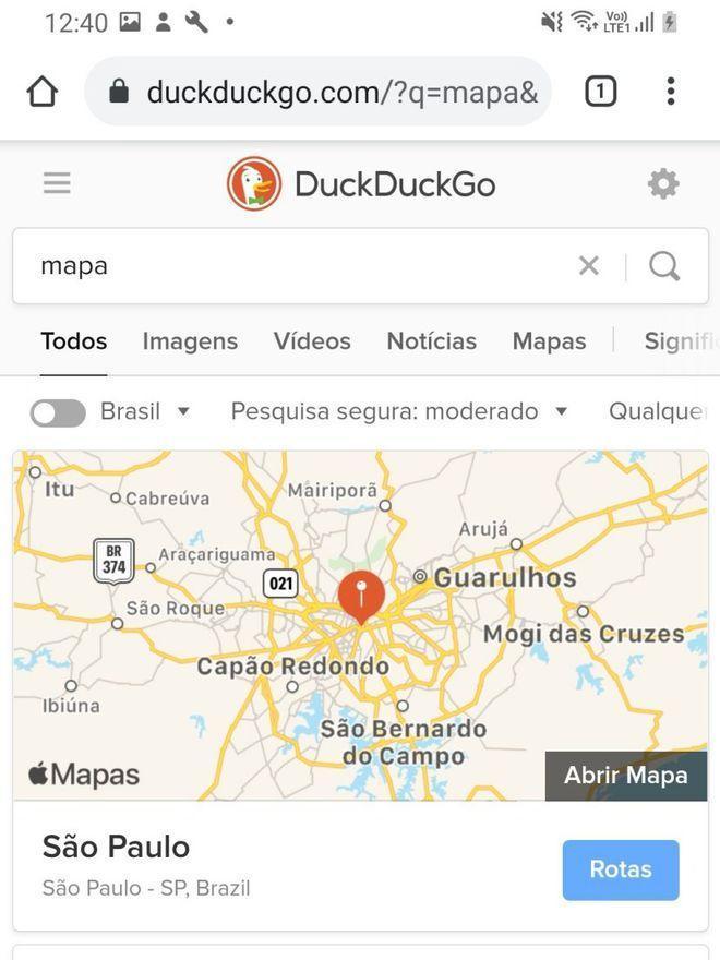 Você pode acessar o serviço de mapas da Apple em Android, Windows ou sistemas com navegadores compatíveis - Captura de tela: Thiago Furquim (Canaltech)